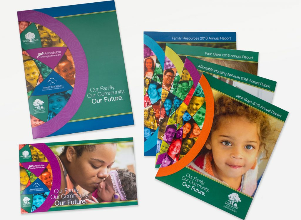 All of the coordinated pieces of the 2016 Four Oaks Annual Report
